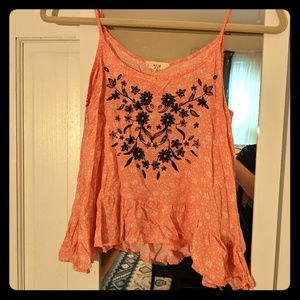 mine Pink Embroidered Crop Top Size S